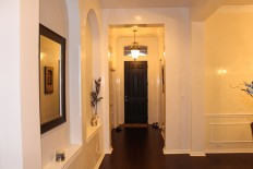 White Venetian Plaster Entry Hallway in Night Light