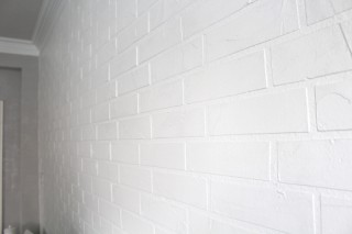 White Faux Brick Wall