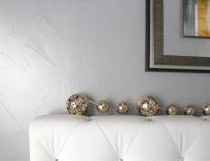 Silver & Blue Hue Metallic Paint on Light Textured Wall