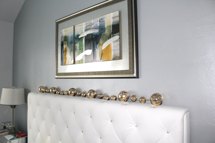 Silver & Blue Hue Metallic Paint on Accent Wall