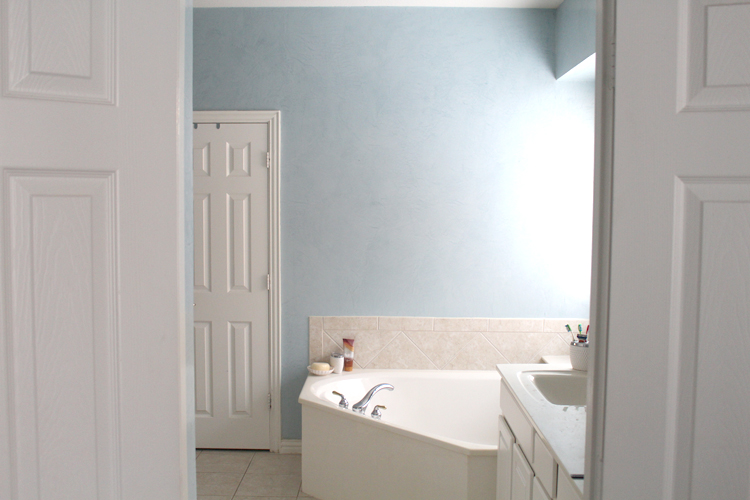 Blue Venetian Plaster – Master Bathroom