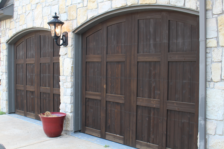 Stained garage doors dallas tx frisco faux creations for Best wood for garage doors