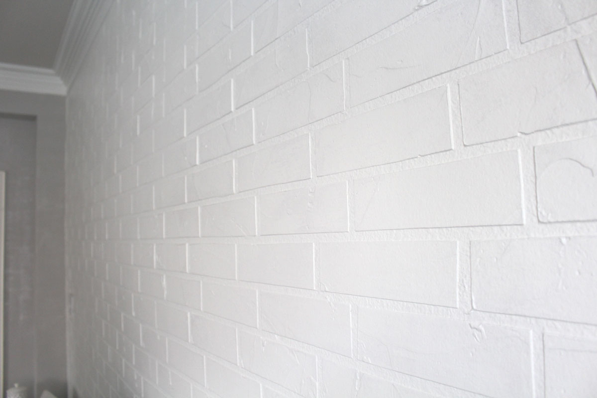 White Faux Brick Wall